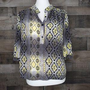 Silk print shirt Parker half sleeve popover